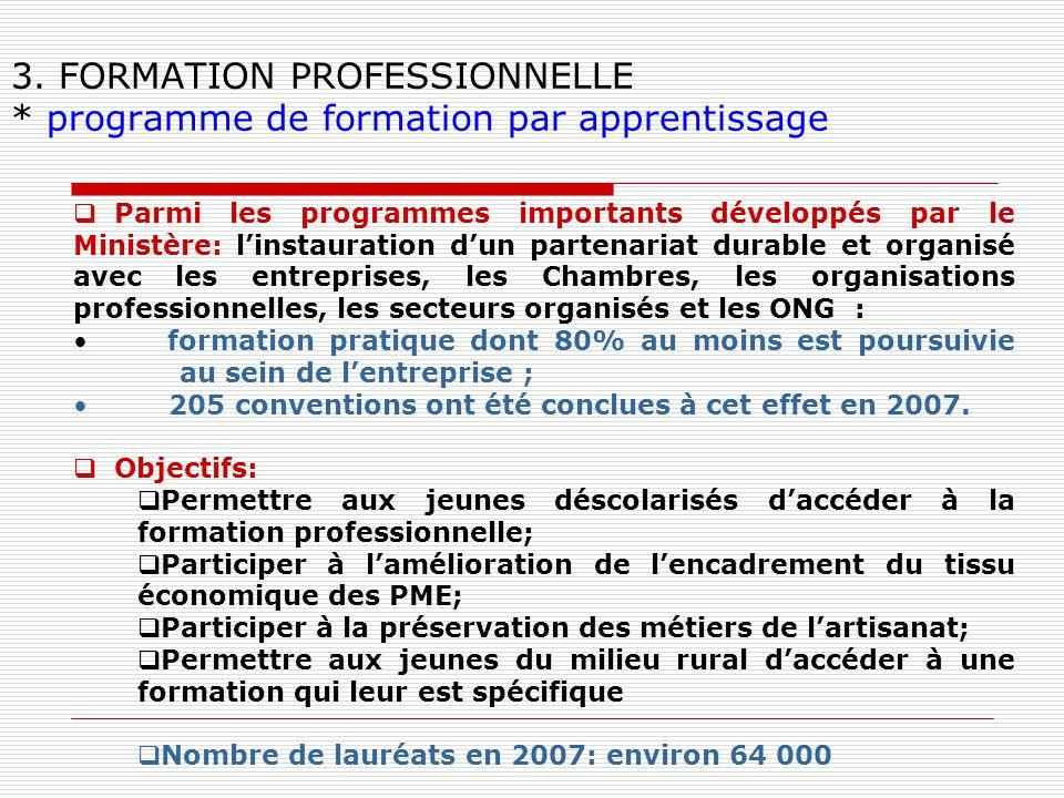 3. FORMATION PROFESSIONNELLE * programme de formation par apprentissage Parmi les programmes importants développés par le Ministère: linstauration dun