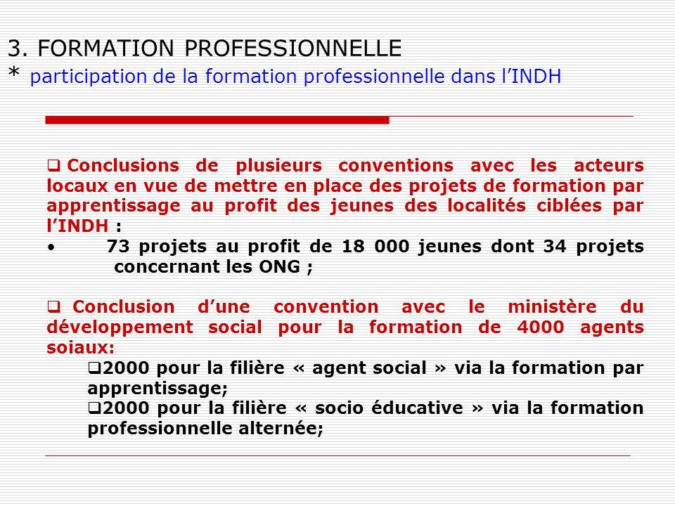3. FORMATION PROFESSIONNELLE * participation de la formation professionnelle dans lINDH Conclusions de plusieurs conventions avec les acteurs locaux e