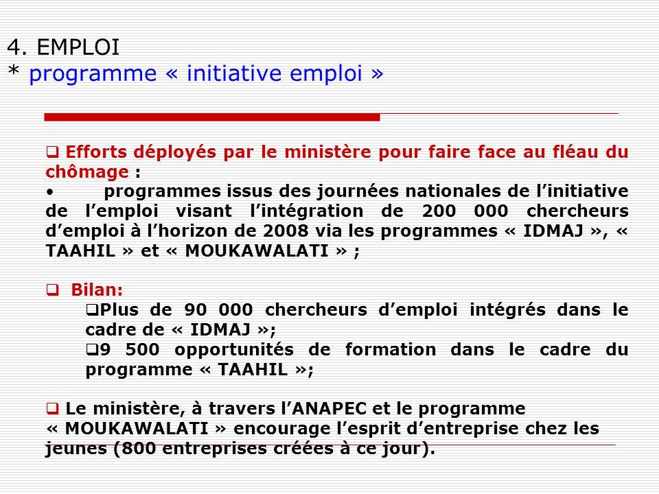 4. EMPLOI * programme « initiative emploi » Efforts déployés par le ministère pour faire face au fléau du chômage : programmes issus des journées nati