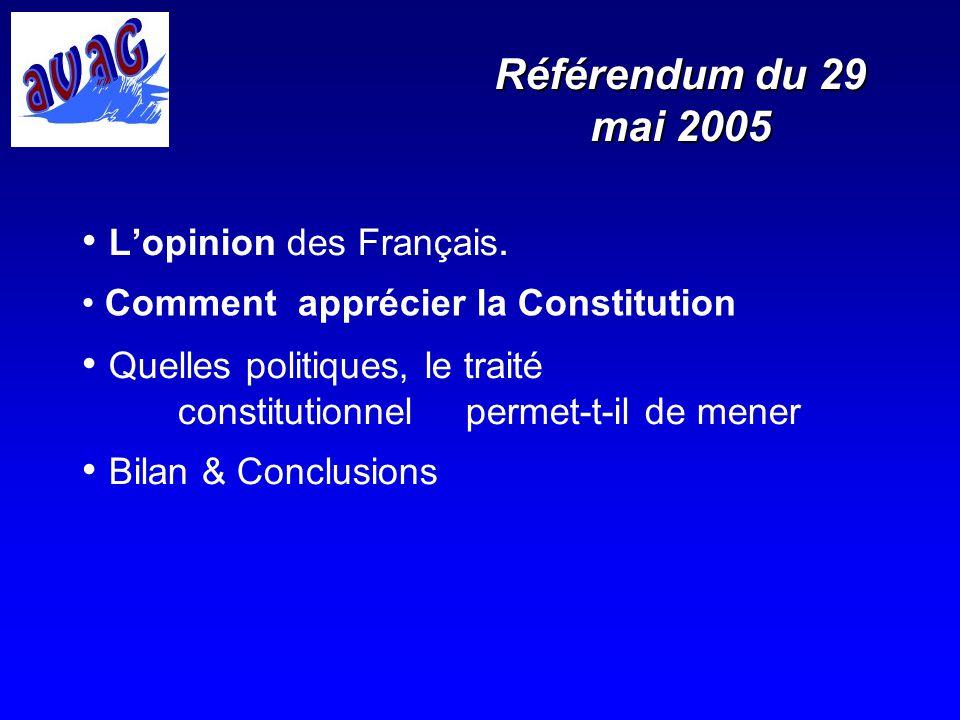 Référendum du 29 mai 2005 Lopinion des Français. Quelles politiques, le traité constitutionnel permet-t-il de mener Bilan & Conclusions Comment appréc