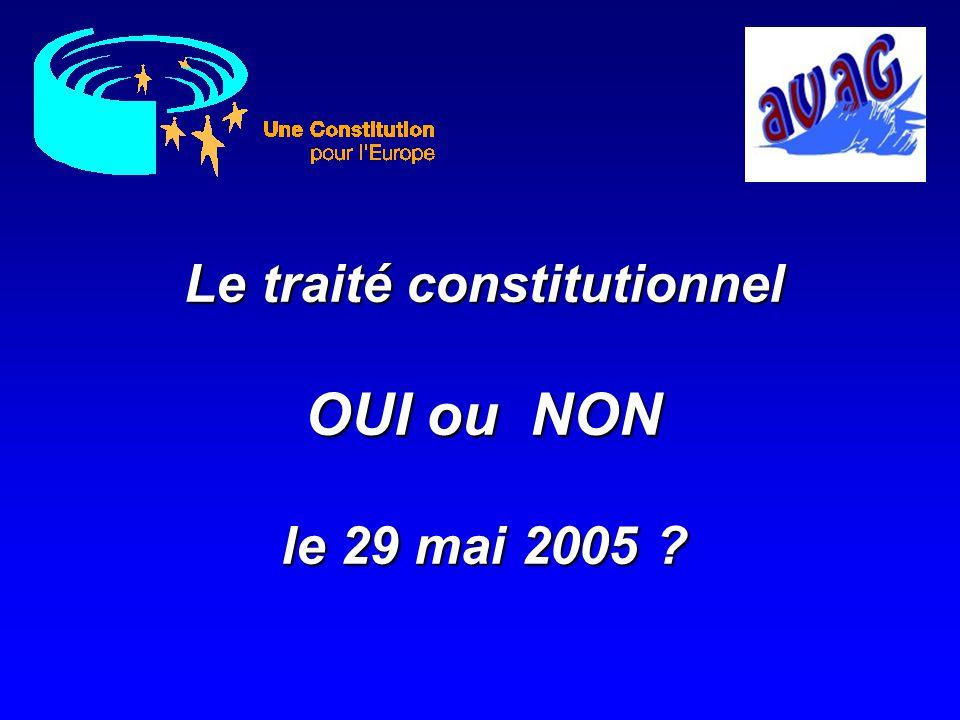 Bilans & Conclusions Leçons tirées du passé Rappels des principaux apports du TCE Apports du OUI gagnant Apports du NON gagnant Conséquences de ladoption du traité constitutionnel …… Vote du 29 mai 2005
