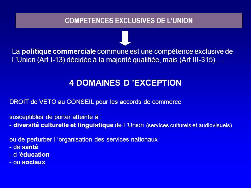 DROIT de VETO au CONSEIL pour les accords de commerce susceptibles de porter atteinte à : - diversité culturelle et linguistique de l Union (services