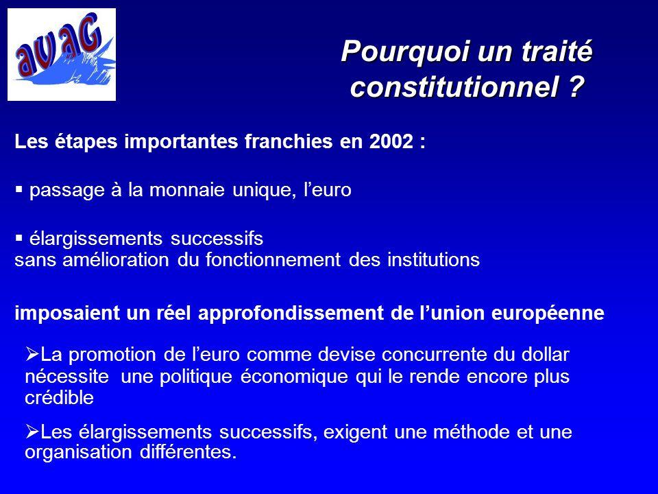 Pourquoi un traité constitutionnel ? Les étapes importantes franchies en 2002 : passage à la monnaie unique, leuro élargissements successifs sans amél