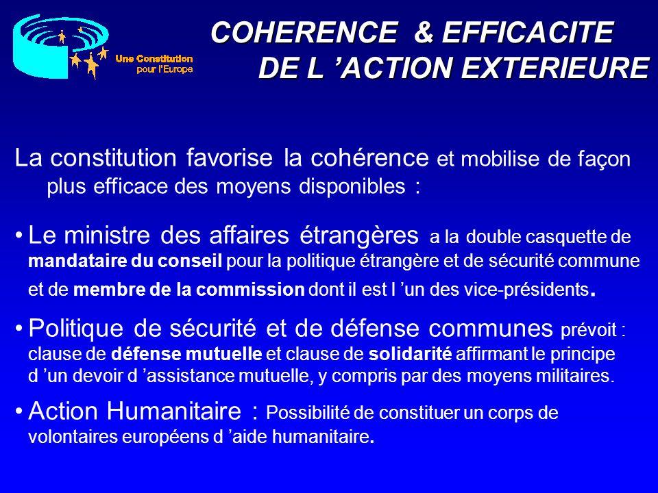 COHERENCE & EFFICACITE DE L ACTION EXTERIEURE Action Humanitaire : Possibilité de constituer un corps de volontaires européens d aide humanitaire. La