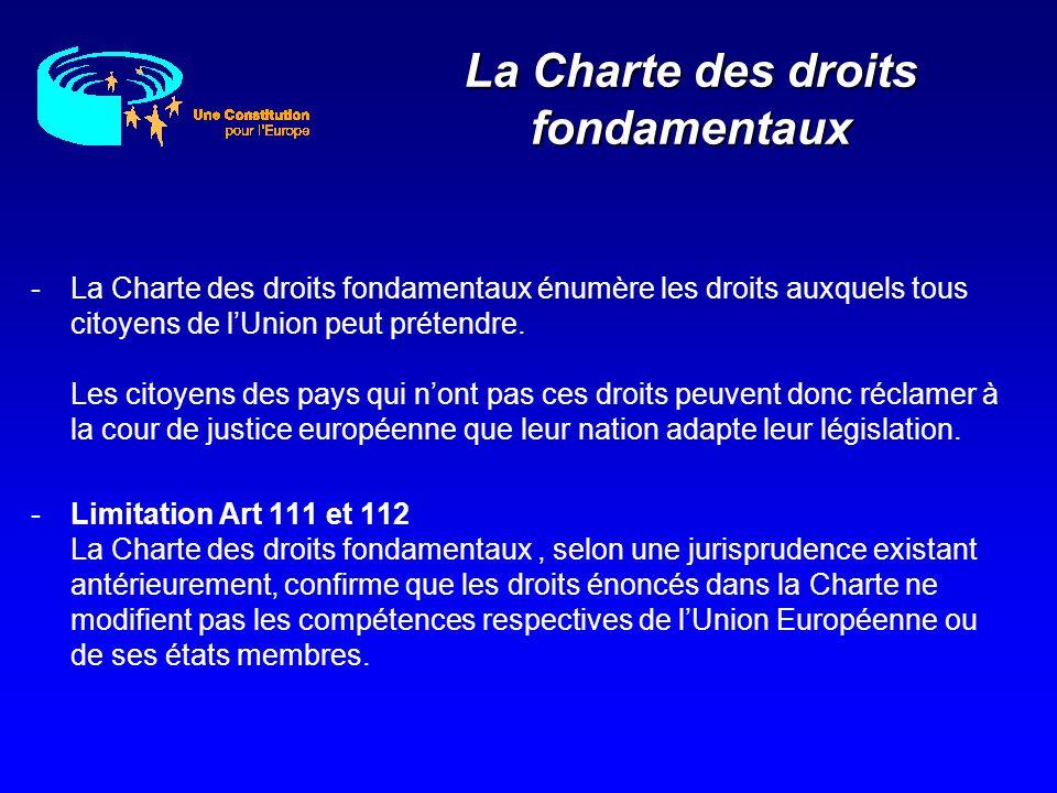 -La Charte des droits fondamentaux énumère les droits auxquels tous citoyens de lUnion peut prétendre. Les citoyens des pays qui nont pas ces droits p