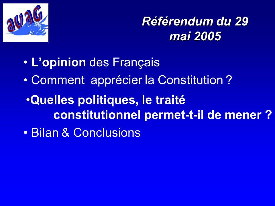 Référendum du 29 mai 2005 Lopinion des Français Comment apprécier la Constitution ? Bilan & Conclusions Quelles politiques, le traité constitutionnel