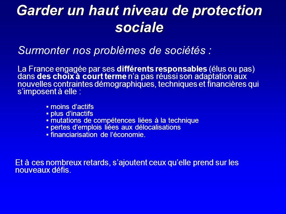 Garder un haut niveau de protection sociale La France engagée par ses différents responsables (élus ou pas) dans des choix à court terme na pas réussi