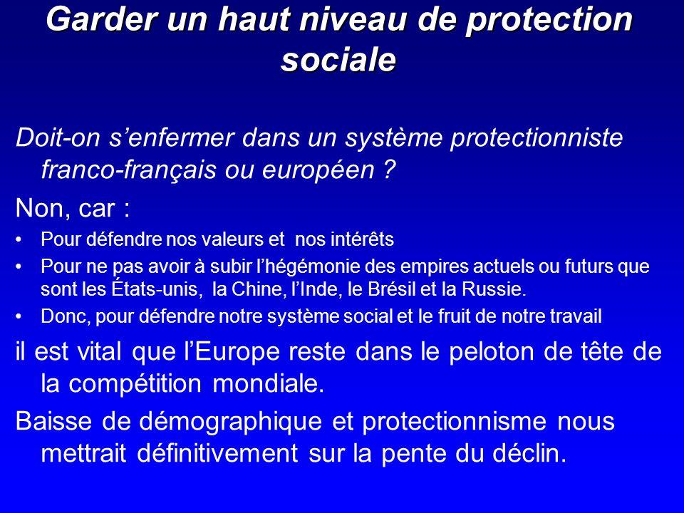 Garder un haut niveau de protection sociale Doit-on senfermer dans un système protectionniste franco-français ou européen ? Non, car : Pour défendre n