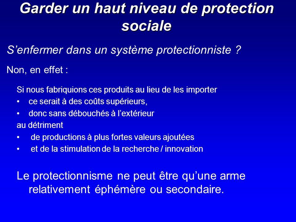 Garder un haut niveau de protection sociale Si nous fabriquions ces produits au lieu de les importer ce serait à des coûts supérieurs, donc sans débou