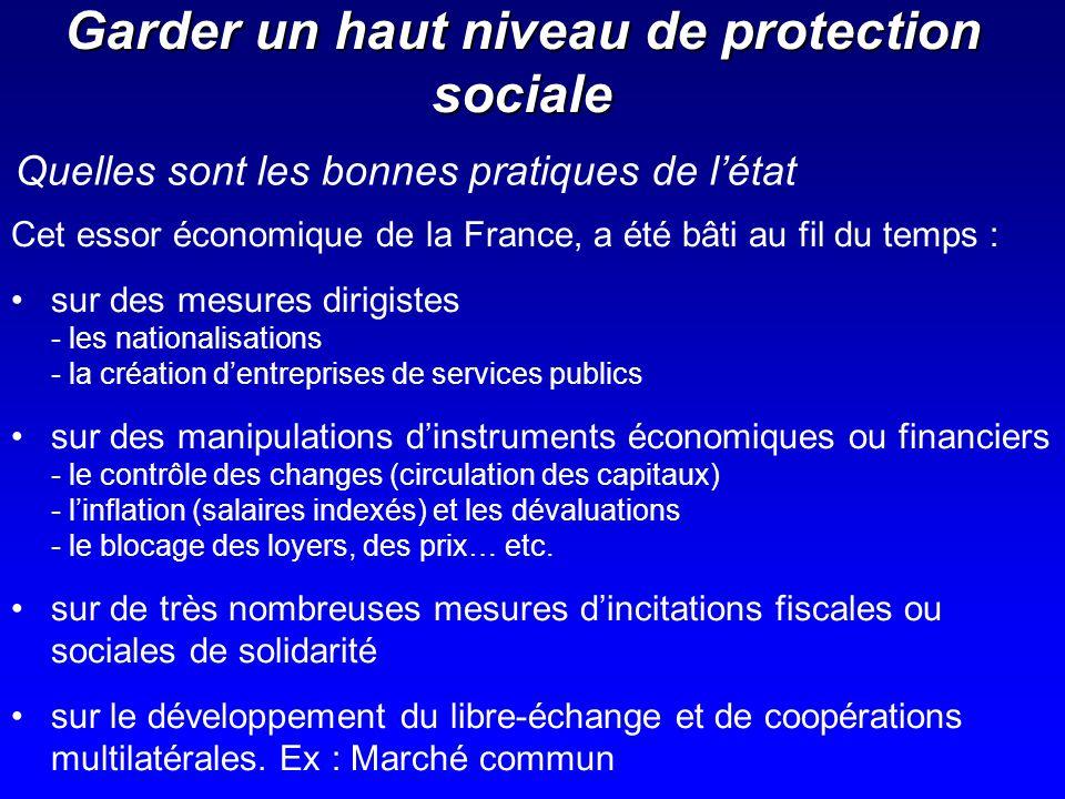 Garder un haut niveau de protection sociale Cet essor économique de la France, a été bâti au fil du temps : sur des mesures dirigistes - les nationali