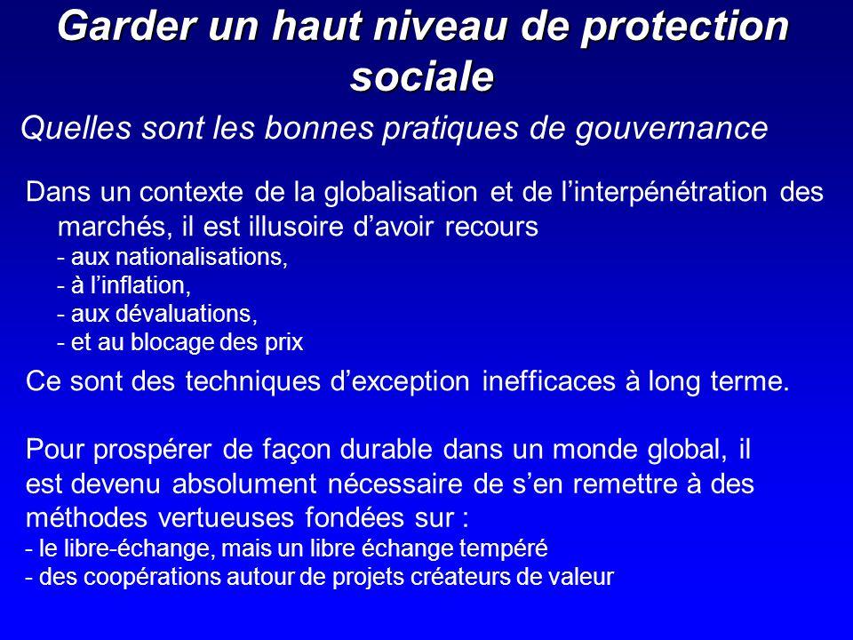 Garder un haut niveau de protection sociale Dans un contexte de la globalisation et de linterpénétration des marchés, il est illusoire davoir recours