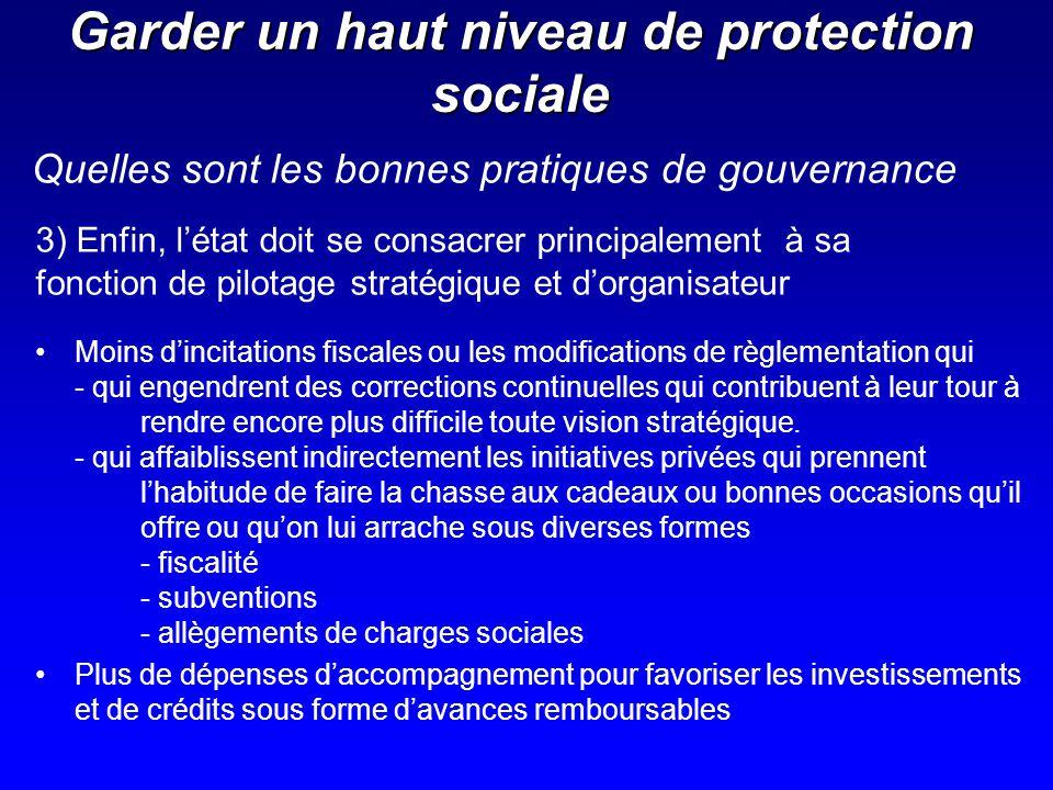 Garder un haut niveau de protection sociale Moins dincitations fiscales ou les modifications de règlementation qui - qui engendrent des corrections co