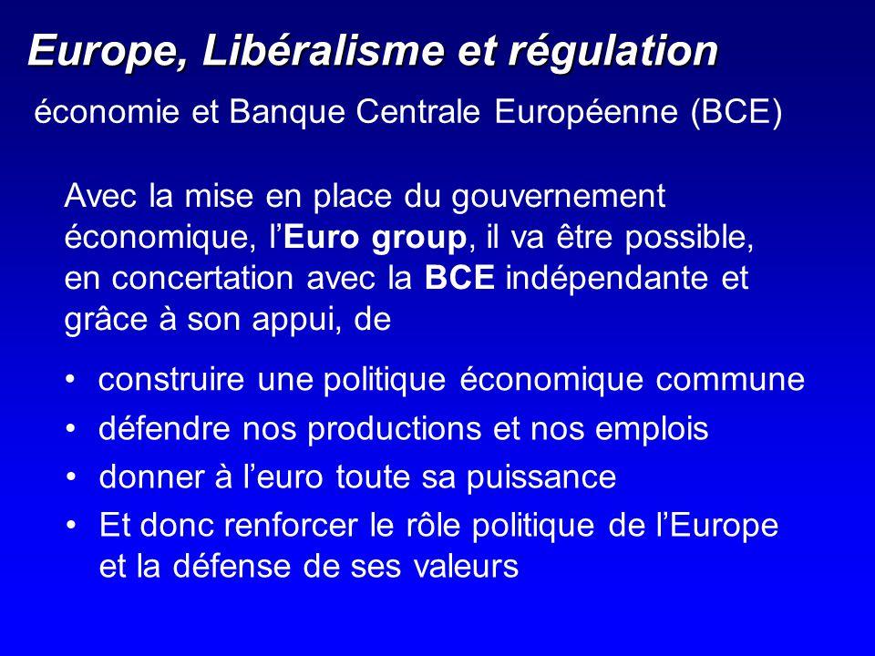 Europe, Libéralisme et régulation Avec la mise en place du gouvernement économique, lEuro group, il va être possible, en concertation avec la BCE indé