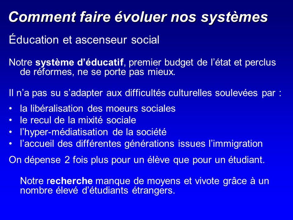 Comment faire évoluer nos systèmes Éducation et ascenseur social Notre système déducatif, premier budget de létat et perclus de réformes, ne se porte