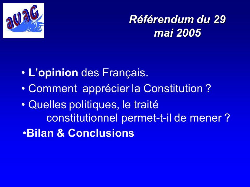 Référendum du 29 mai 2005 Lopinion des Français. Comment apprécier la Constitution ? Quelles politiques, le traité constitutionnel permet-t-il de mene