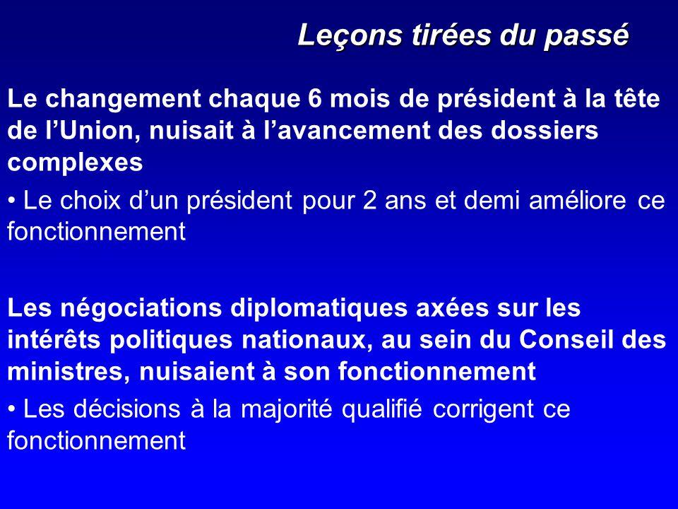 Leçons tirées du passé Le changement chaque 6 mois de président à la tête de lUnion, nuisait à lavancement des dossiers complexes Le choix dun préside