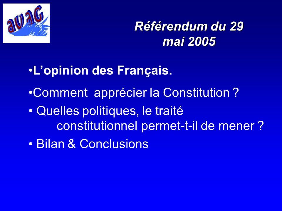 Lopinion des Français Les Français majoritairement favorables à lEurope restent partagés sur ladoption du traité constitutionnel :NON souverainiste libéral fédéraliste républicainOUI plus libéral que social plus social que libéral Avez-vous dautres opinions à suggérer ?