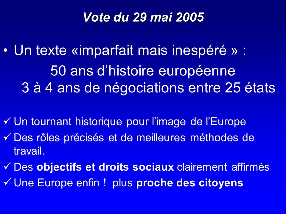 Vote du 29 mai 2005 Un texte «imparfait mais inespéré » : 50 ans dhistoire européenne 3 à 4 ans de négociations entre 25 états Un tournant historique