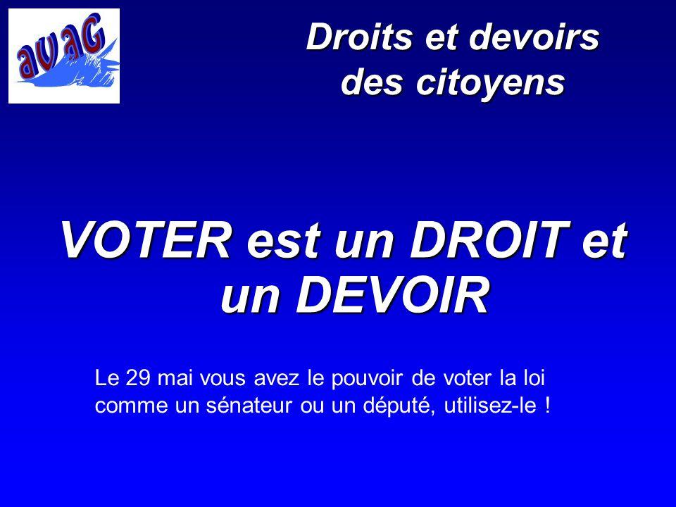 Droits et devoirs des citoyens VOTER est un DROIT et un DEVOIR Le 29 mai vous avez le pouvoir de voter la loi comme un sénateur ou un député, utilisez