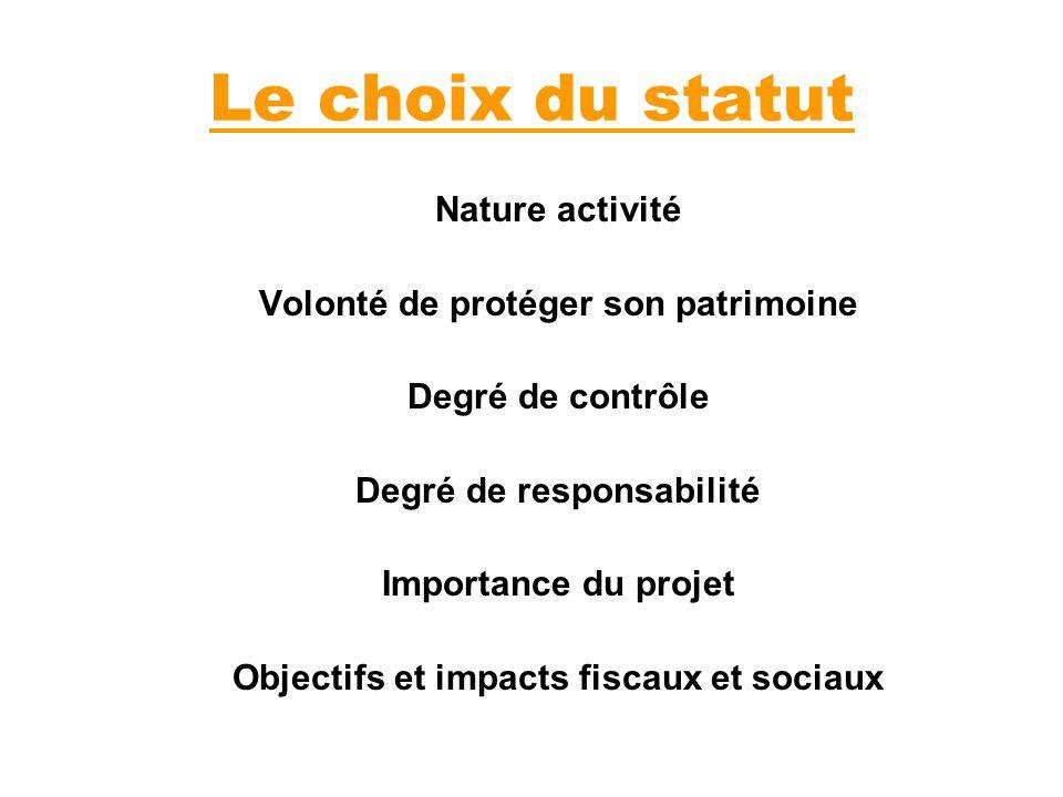 Le choix du statut Nature activité Volonté de protéger son patrimoine Degré de contrôle Degré de responsabilité Importance du projet Objectifs et impa