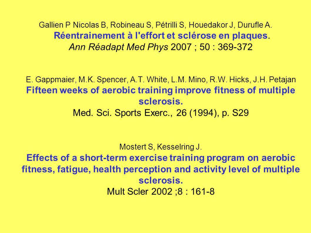 Gallien P Nicolas B, Robineau S, Pétrilli S, Houedakor J, Durufle A. Réentrainement à l'effort et sclérose en plaques. Ann Réadapt Med Phys 2007 ; 50