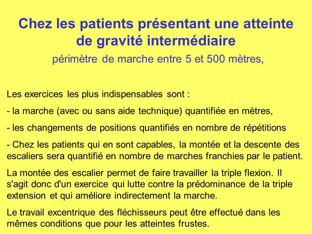 Chez les patients présentant une atteinte de gravité intermédiaire périmètre de marche entre 5 et 500 mètres, Les exercices les plus indispensables so