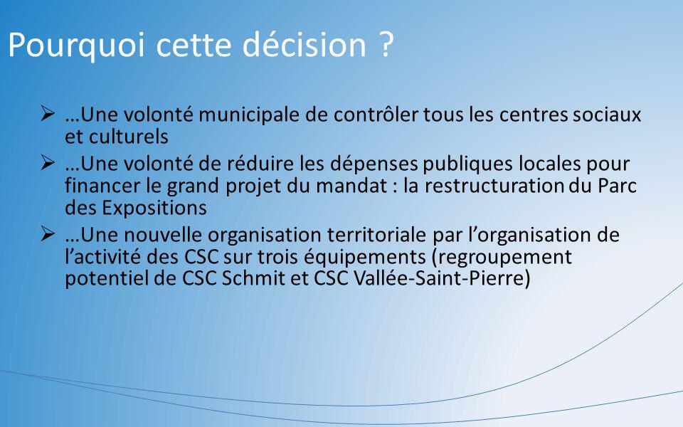 Pourquoi cette décision ? …Une volonté municipale de contrôler tous les centres sociaux et culturels …Une volonté de réduire les dépenses publiques lo