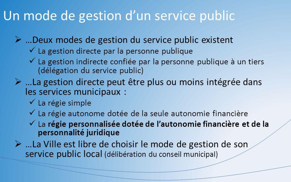 Un mode de gestion dun service public …Deux modes de gestion du service public existent La gestion directe par la personne publique La gestion indirec