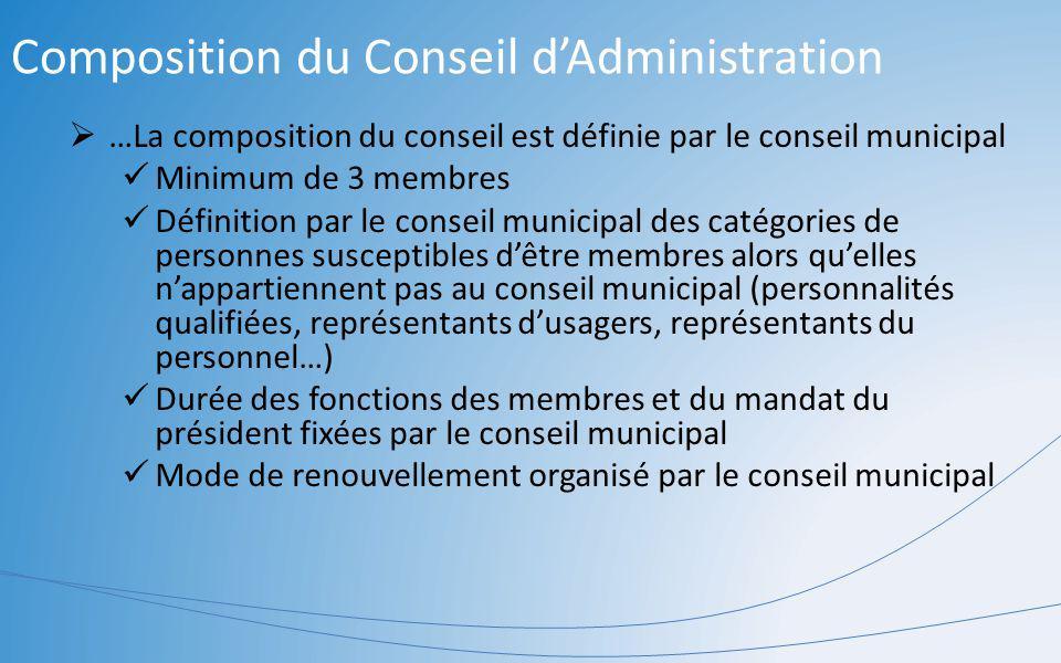 Composition du Conseil dAdministration …La composition du conseil est définie par le conseil municipal Minimum de 3 membres Définition par le conseil