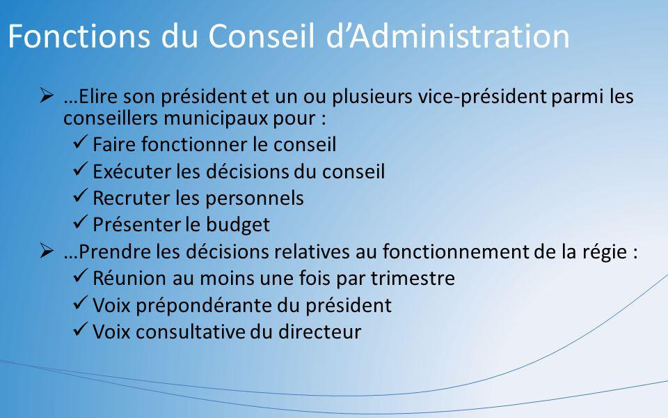 Fonctions du Conseil dAdministration …Elire son président et un ou plusieurs vice-président parmi les conseillers municipaux pour : Faire fonctionner