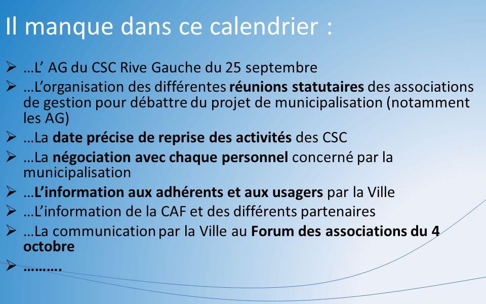 Il manque dans ce calendrier : …L AG du CSC Rive Gauche du 25 septembre …Lorganisation des différentes réunions statutaires des associations de gestio