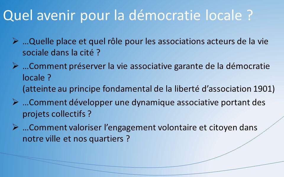 Quel avenir pour la démocratie locale ? …Quelle place et quel rôle pour les associations acteurs de la vie sociale dans la cité ? …Comment préserver l
