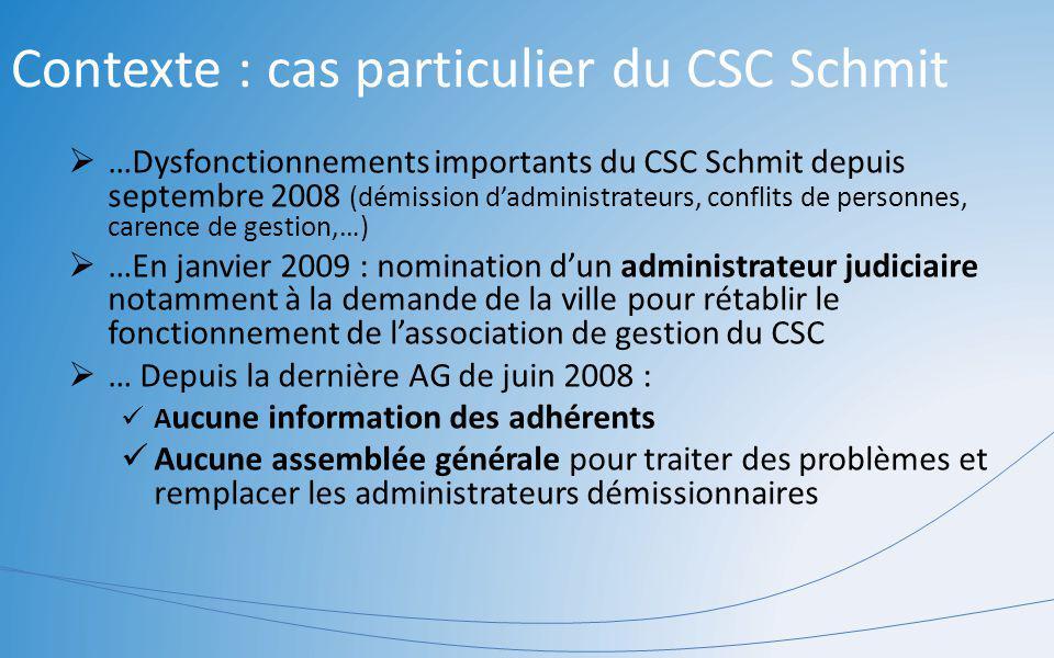 …Dysfonctionnements importants du CSC Schmit depuis septembre 2008 (démission dadministrateurs, conflits de personnes, carence de gestion,…) …En janvi