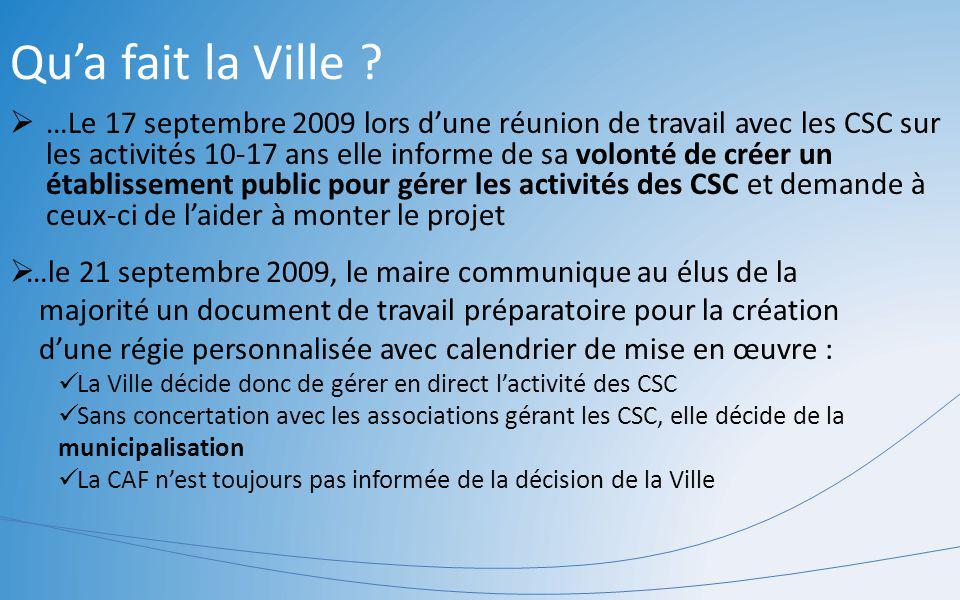 Qua fait la Ville ? …Le 17 septembre 2009 lors dune réunion de travail avec les CSC sur les activités 10-17 ans elle informe de sa volonté de créer un