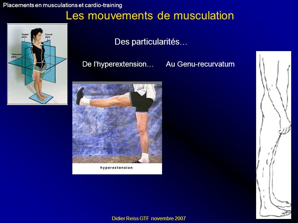 Les mouvements de musculation Placements en musculations et cardio-training Didier Reiss GTF novembre 2007 Des particularités… Au Genu-recurvatumDe lhyperextension…