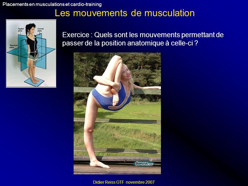 Les mouvements de musculation Placements en musculations et cardio-training Didier Reiss GTF novembre 2007 Exercice : Quels sont les mouvements permettant de passer de la position anatomique à celle-ci ?