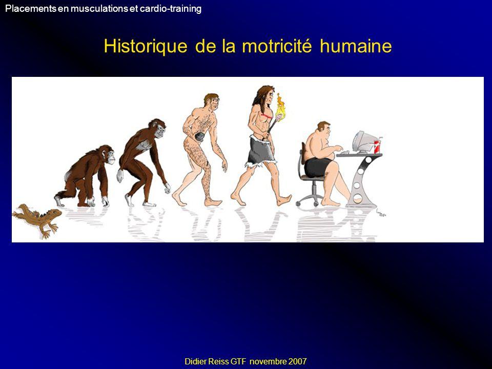 Historique de la motricité humaine Placements en musculations et cardio-training Didier Reiss GTF novembre 2007