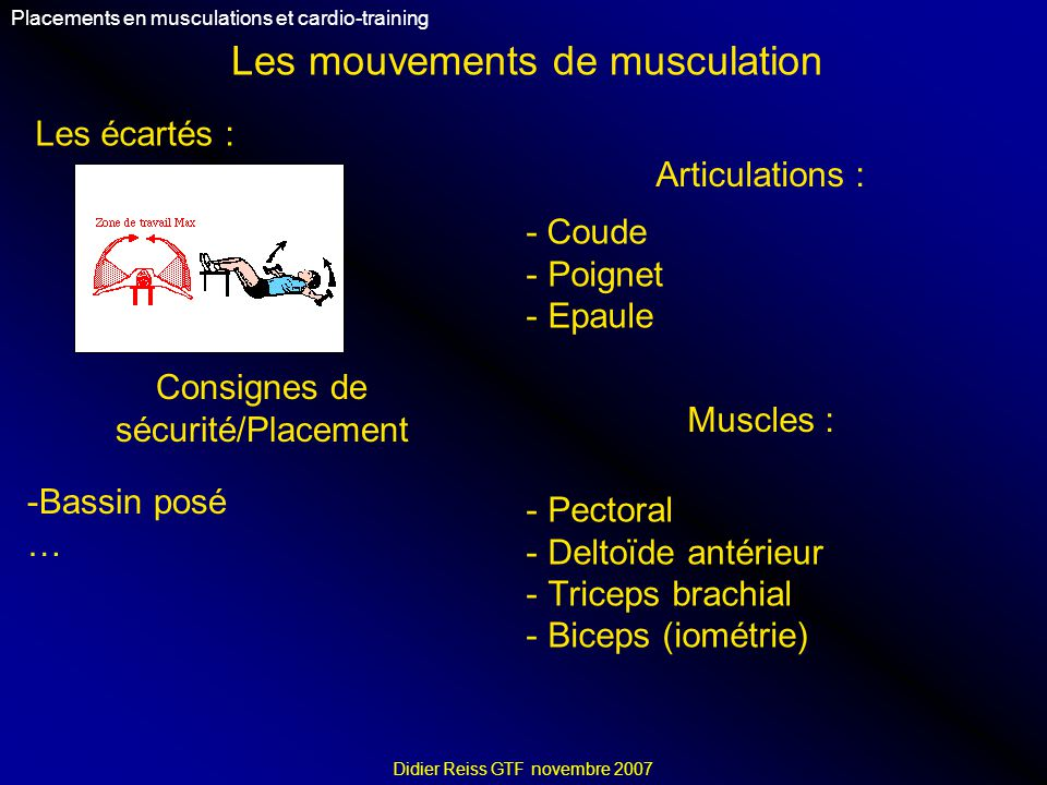 Les mouvements de musculation Placements en musculations et cardio-training Didier Reiss GTF novembre 2007 Les écartés : Articulations : - Coude - Poi