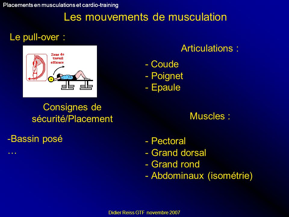 Les mouvements de musculation Placements en musculations et cardio-training Didier Reiss GTF novembre 2007 Le pull-over : Articulations : - Coude - Po