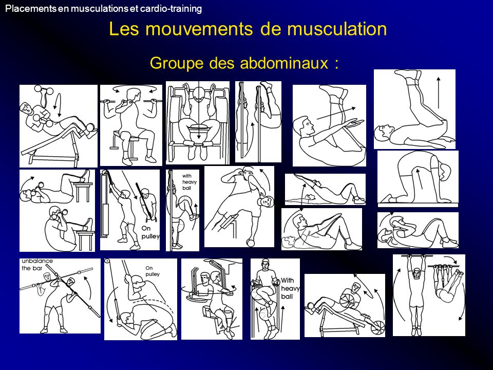 Les mouvements de musculation Placements en musculations et cardio-training Groupe des abdominaux :