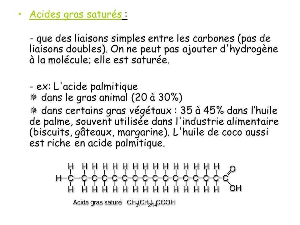 Acides gras saturés : - que des liaisons simples entre les carbones (pas de liaisons doubles).
