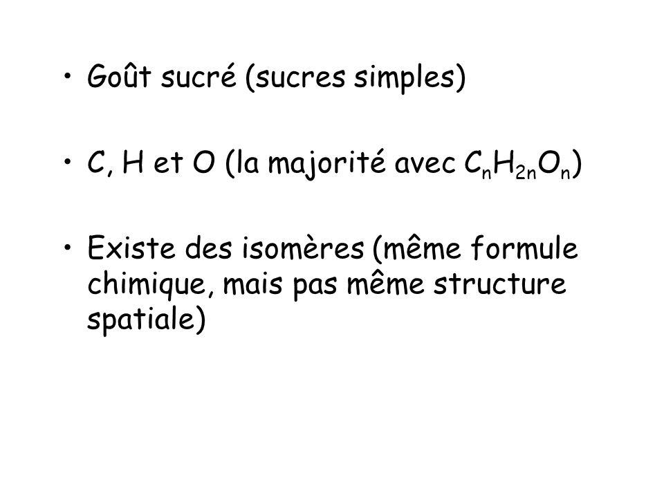 Goût sucré (sucres simples) C, H et O (la majorité avec C n H 2n O n ) Existe des isomères (même formule chimique, mais pas même structure spatiale)