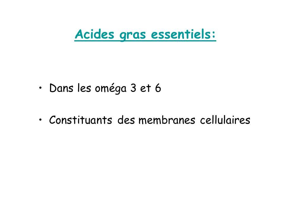 Acides gras essentiels: Dans les oméga 3 et 6 Constituants des membranes cellulaires