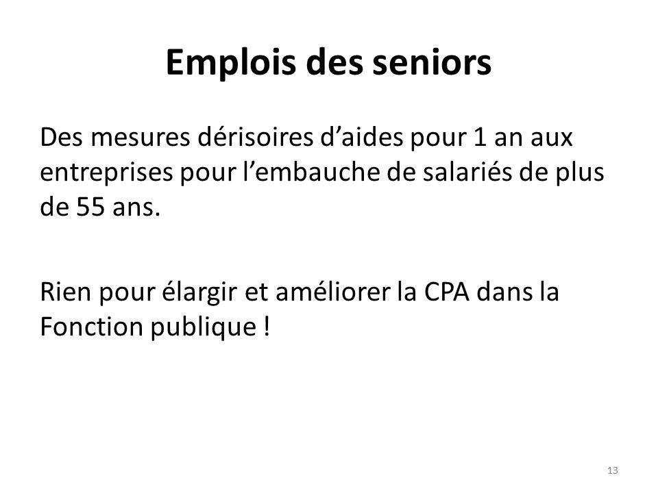 13 Emplois des seniors Des mesures dérisoires daides pour 1 an aux entreprises pour lembauche de salariés de plus de 55 ans.