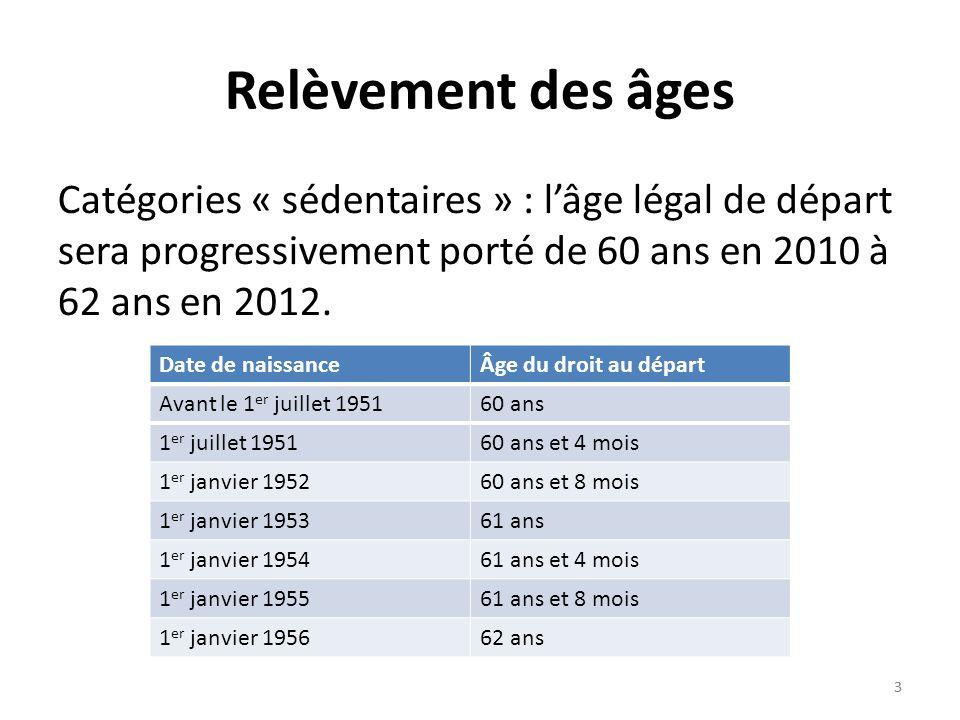 3 3 Relèvement des âges Catégories « sédentaires » : lâge légal de départ sera progressivement porté de 60 ans en 2010 à 62 ans en 2012.