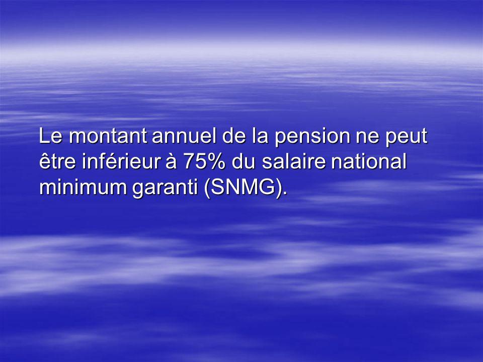 Le montant annuel de la pension ne peut être inférieur à 75% du salaire national minimum garanti (SNMG). Le montant annuel de la pension ne peut être
