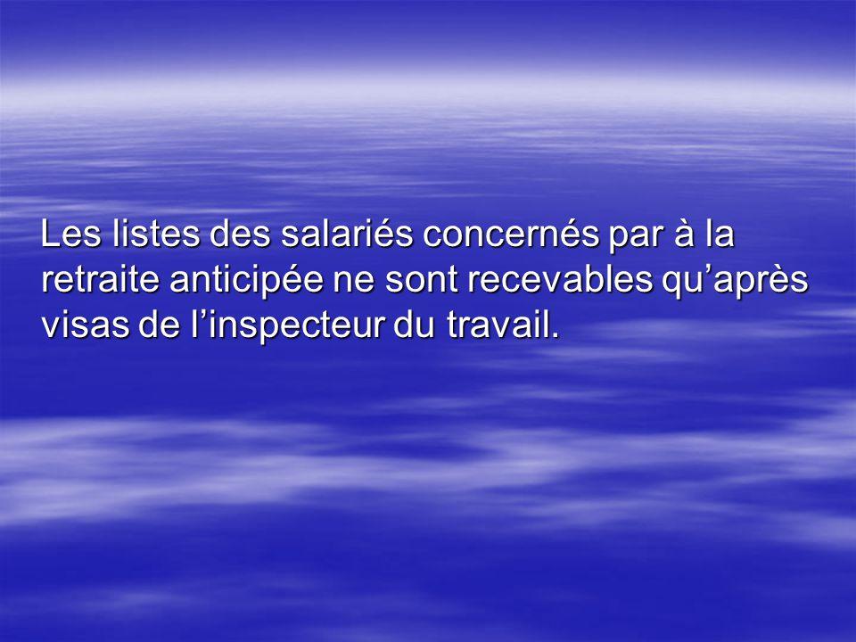 Les listes des salariés concernés par à la retraite anticipée ne sont recevables quaprès visas de linspecteur du travail. Les listes des salariés conc