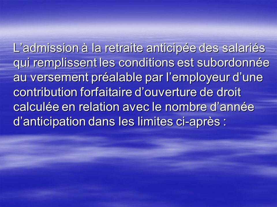 Ladmission à la retraite anticipée des salariés qui remplissent les conditions est subordonnée au versement préalable par lemployeur dune contribution