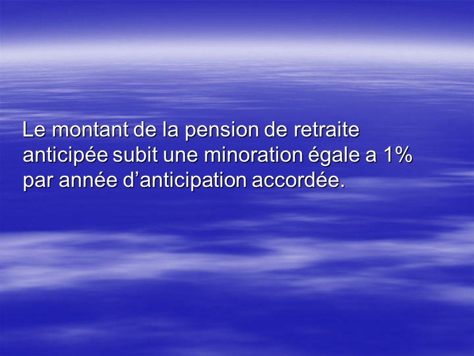 Le montant de la pension de retraite anticipée subit une minoration égale a 1% par année danticipation accordée. Le montant de la pension de retraite