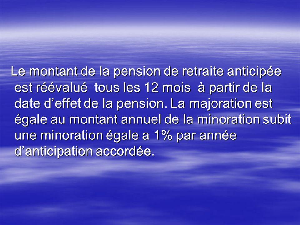 Le montant de la pension de retraite anticipée est réévalué tous les 12 mois à partir de la date deffet de la pension. La majoration est égale au mont